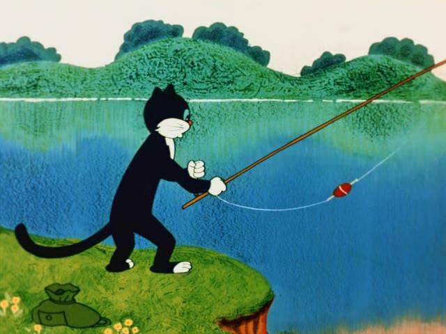 кот рыболов удочка